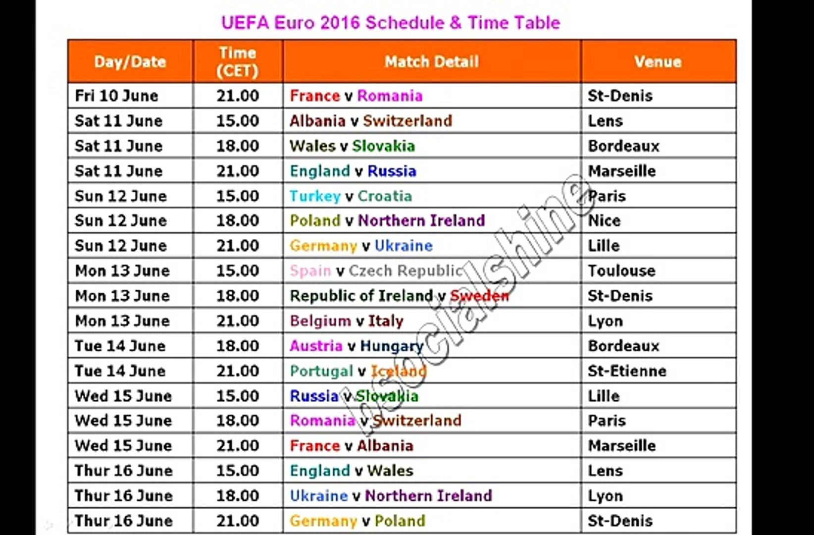 UEFA Euro 2016 Schedule _ Time Table