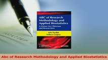 Read  Abc of Research Methodology and Applied Biostatistics Ebook Free