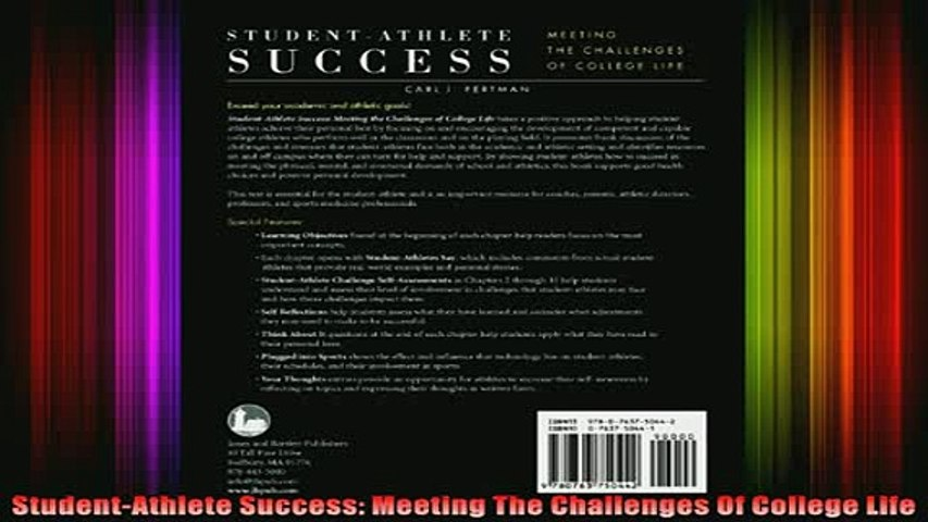 best book  StudentAthlete Success Meeting The Challenges Of College Life