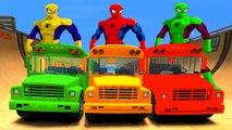 COULEURS SPIDERMAN roues sur The Monster Bus & School Bus Truck & Comptines Chansons enfantines