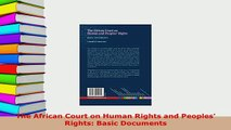 PDF  The African Court on Human Rights and Peoples Rights Basic Documents  EBook