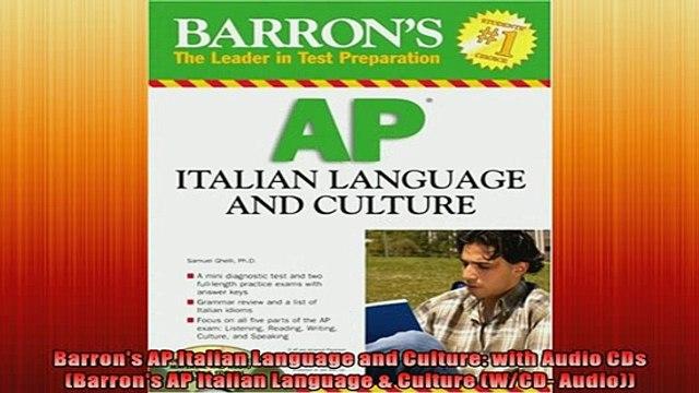 EBOOK ONLINE  Barrons AP Italian Language and Culture with Audio CDs Barrons AP Italian Language  READ ONLINE