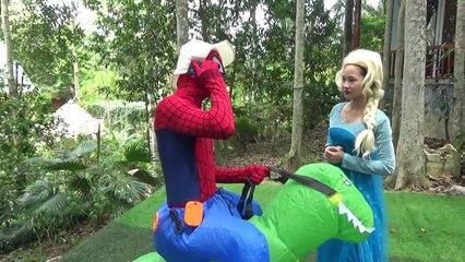 Spiderman & Black Spiderman vs T-REX W Frozen Elsa & Hulk Venom kidnap baby Superhero USHD