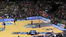 CAI Zaragoza forward hits a triple from home to win the game and leave outside Dominion Bilbao Basket Playoff