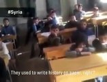 Syrian school being taught about current events in their war torn country when this happens