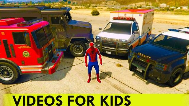 VOITURES D'URGENCE - Voiture de police Ambulance Camion de pompiers de voiture avec Spiderman pour les enfants Comptines Chansons