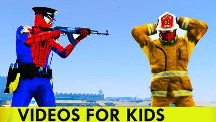 Policeman Spiderman sur Voiture de police et d'incendie Camion de bande dessinée pour les enfants Comptines Chansons pour enfants