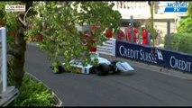 Une grue lâche une formule 1 au grand prix de Monaco au-dessus de la piste pendant une course !