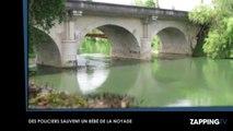 Des policiers plongent dans une rivière et sauvent un bébé de la noyade (Vidéo)