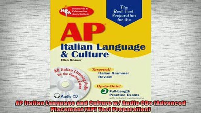 FREE DOWNLOAD  AP Italian Language and Culture w Audio CDs Advanced Placement AP Test Preparation  DOWNLOAD ONLINE