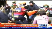 Estudiantes chilenos ingresan al Palacio de La Moneda para protestar en contra de la reforma educacional en Chile