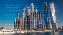 View of Dubai Marina tallest Towers in Dubai before sunset timelapse hyperlapse