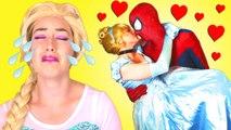 Is Spiderman Kissing Cinderella! w  Frozen Elsa & Anna, Pink Spidergirl Mermaid, Catwoman & Joker