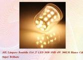 10X Lámpara Bombilla E14 27 LED 5050 SMD 4W 300LM