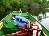2 of 2 14 foot Jon boat with 1958 Johnson 10 hp outboard QD-19