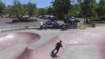 Drone Skate Park Footage- half pipe plus a back flip!