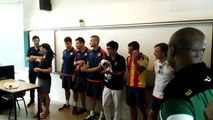 Football - Valencia players surprise RI footballer Jonathan Chua.