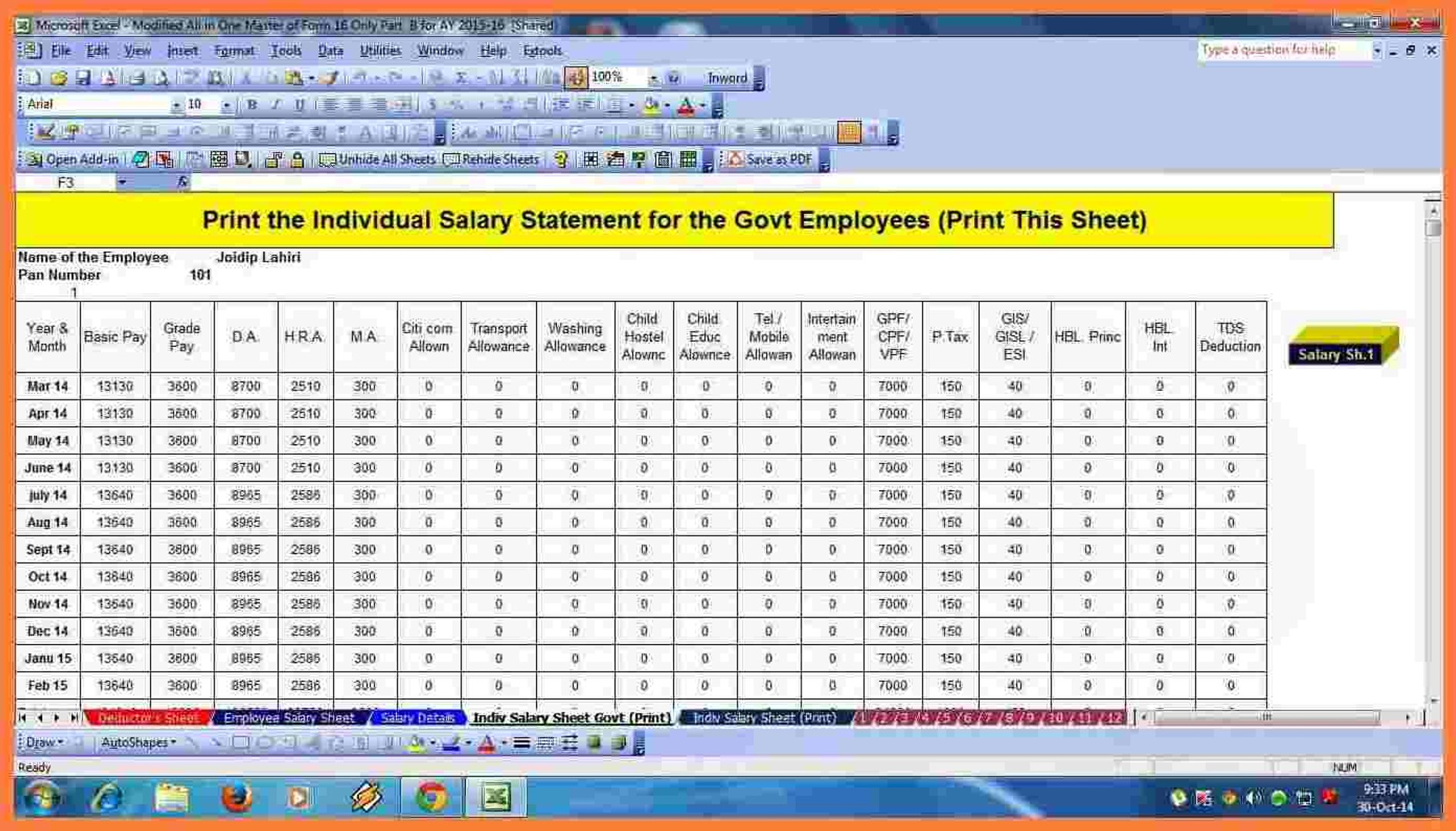 HOW TO CREATE SALARY SHEET AND PAYSLIP IN EXCEL