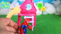 Spiderman Frozen Elsa vs Green Goblin,Peppa Pig and George playground-slide TOYS LINE