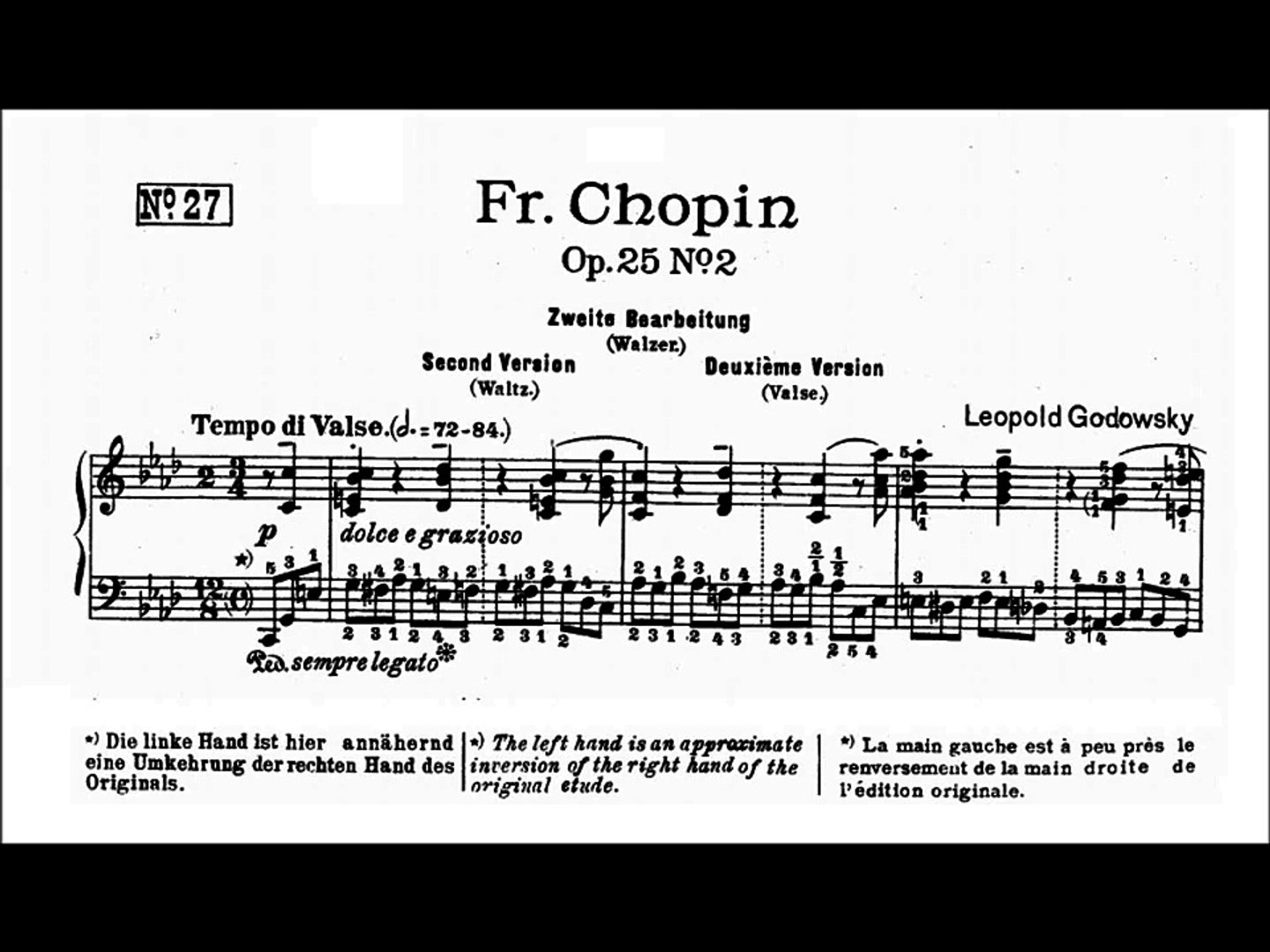 Chopin-Godowsky - Study No  27 in F minor after Op  25 No  2