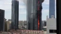 Huge fire breaks out in high-rise building in Shenyang city, Liaoning Province