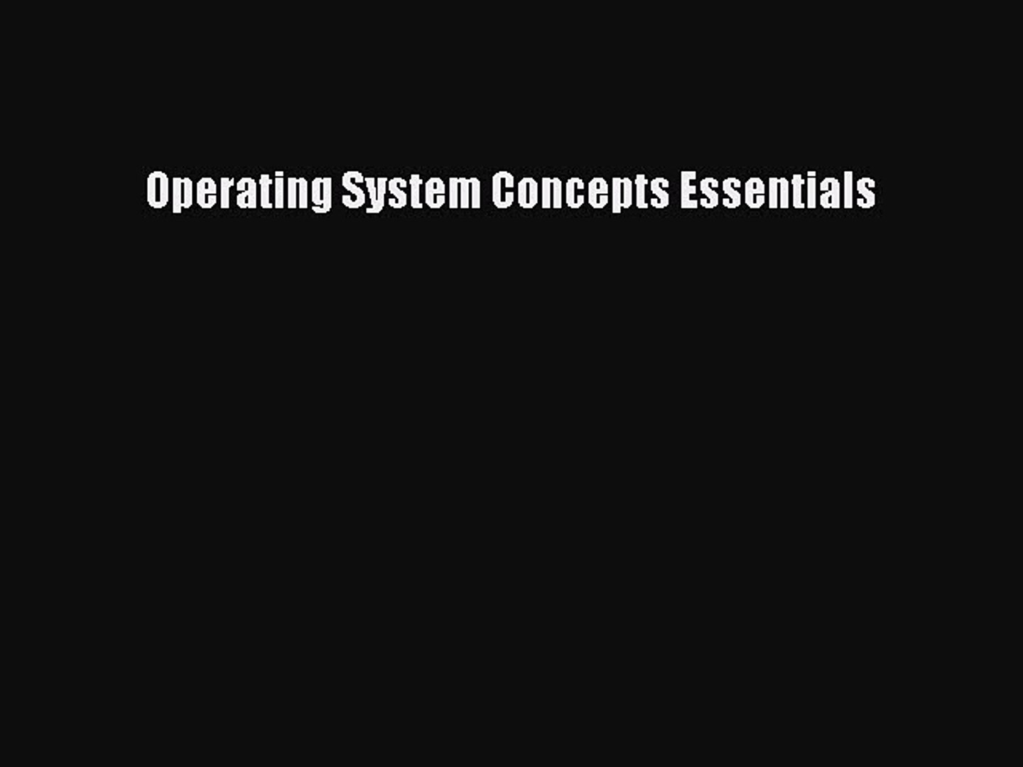 operating system by galvin free download pdf ebook
