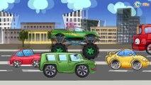Carros Para Niños. Coche de policía, Un camion monstruo. Caricaturas de carros. Tiki Taki Carros