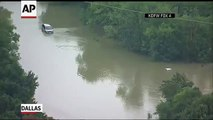 Cars Submerged By Flood Waters In Dallas - Raw Video