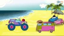 Dessin animé voiture. Le Camion Monstre, Voiture de police pour infants.Tiki Taki Dessins Animes