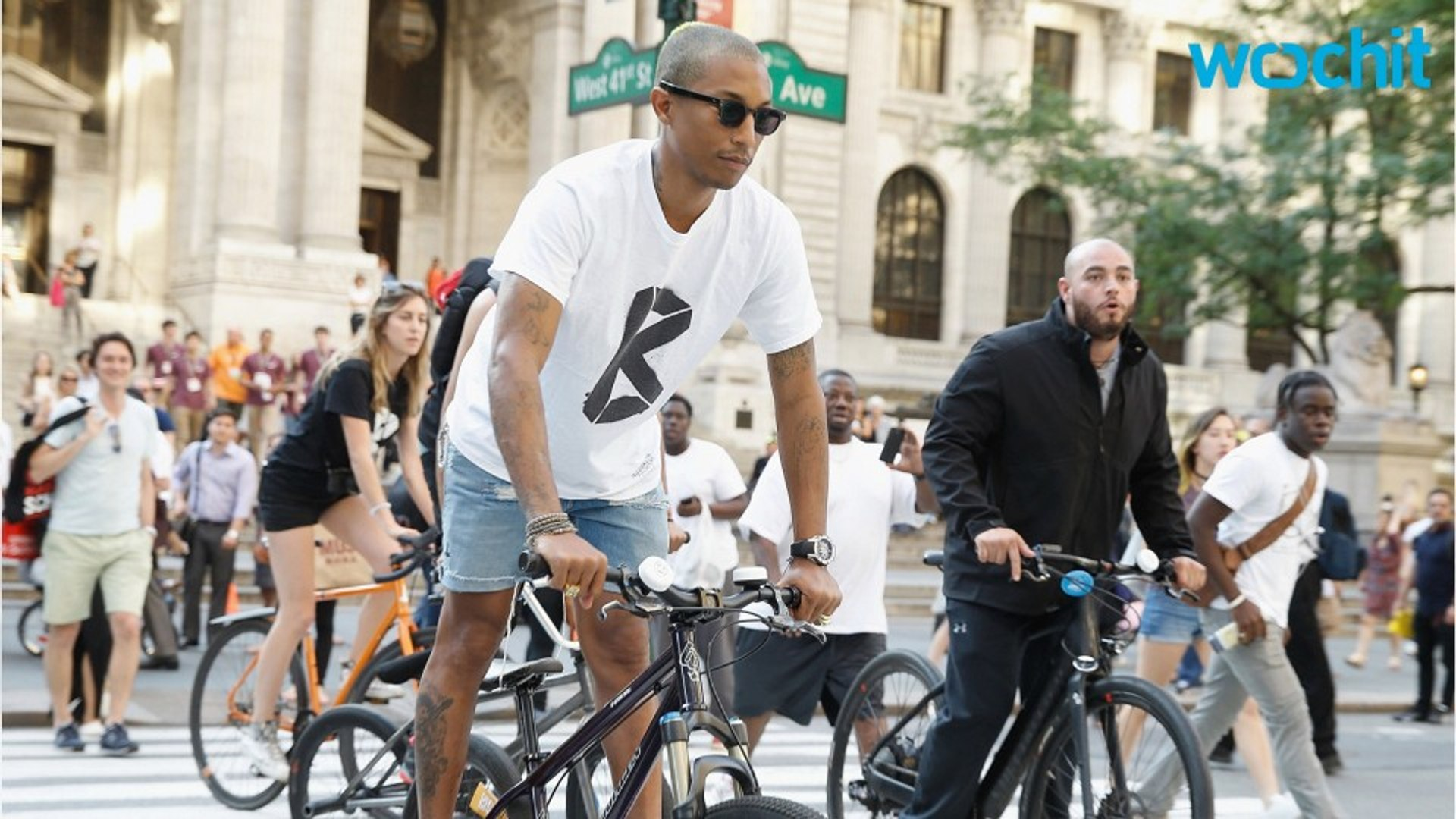 Green-Haired Pharrell Williams Spends a Day on a Bike Tour of NYC's Various G-Star Stores
