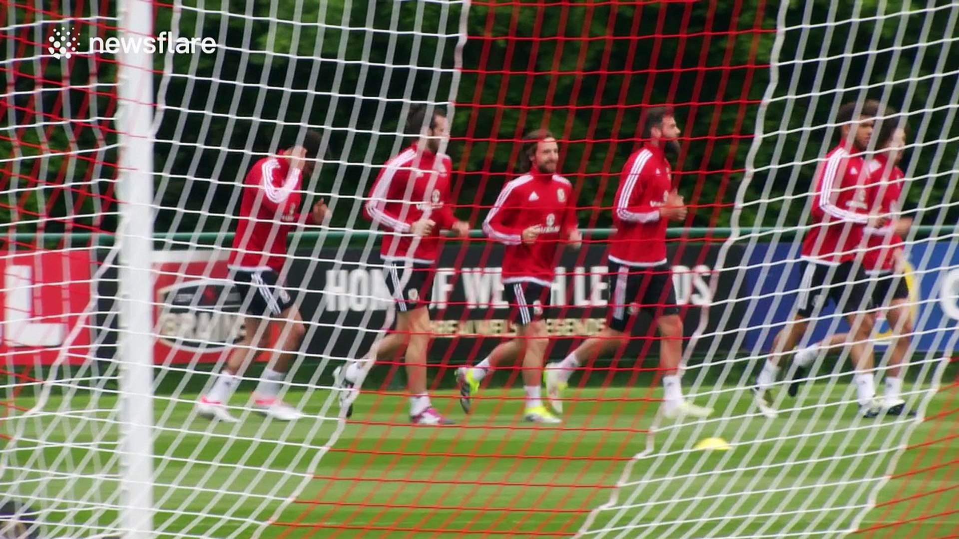Wales football team, including Gareth Bale, train ahead of Euro 2016
