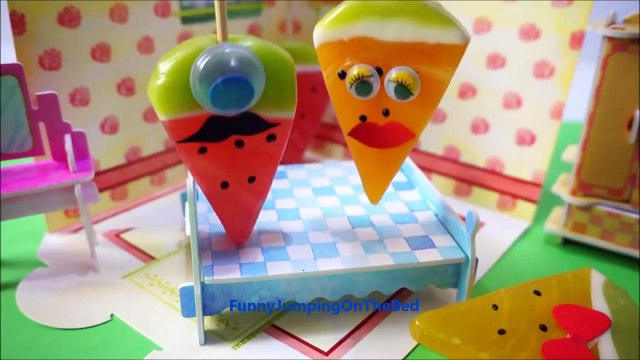 Five Fruits Jumping on the Bed | Little Candy Fruit song video for Kids