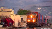 AWESOME TRAIN HORNS !!! (UP) Union Pacific Freight Trains in East Los Angeles, CA (11 16 13)