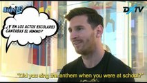 Lionel Messi receives a cheeky question about not singing the Argentine national anthem