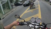 Bikers are awesome. Biker helps guy in wheelchair cross the street