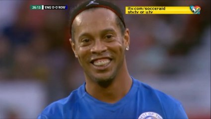 Ronaldinho Tries A Long Free Kick Attempt vs David Seaman During Soccer Aid!