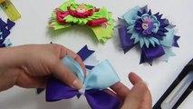 Como elaborar un lazo, Moño, con flor Sol, Pap Flowers Kanzashi, Diy Moños doble color