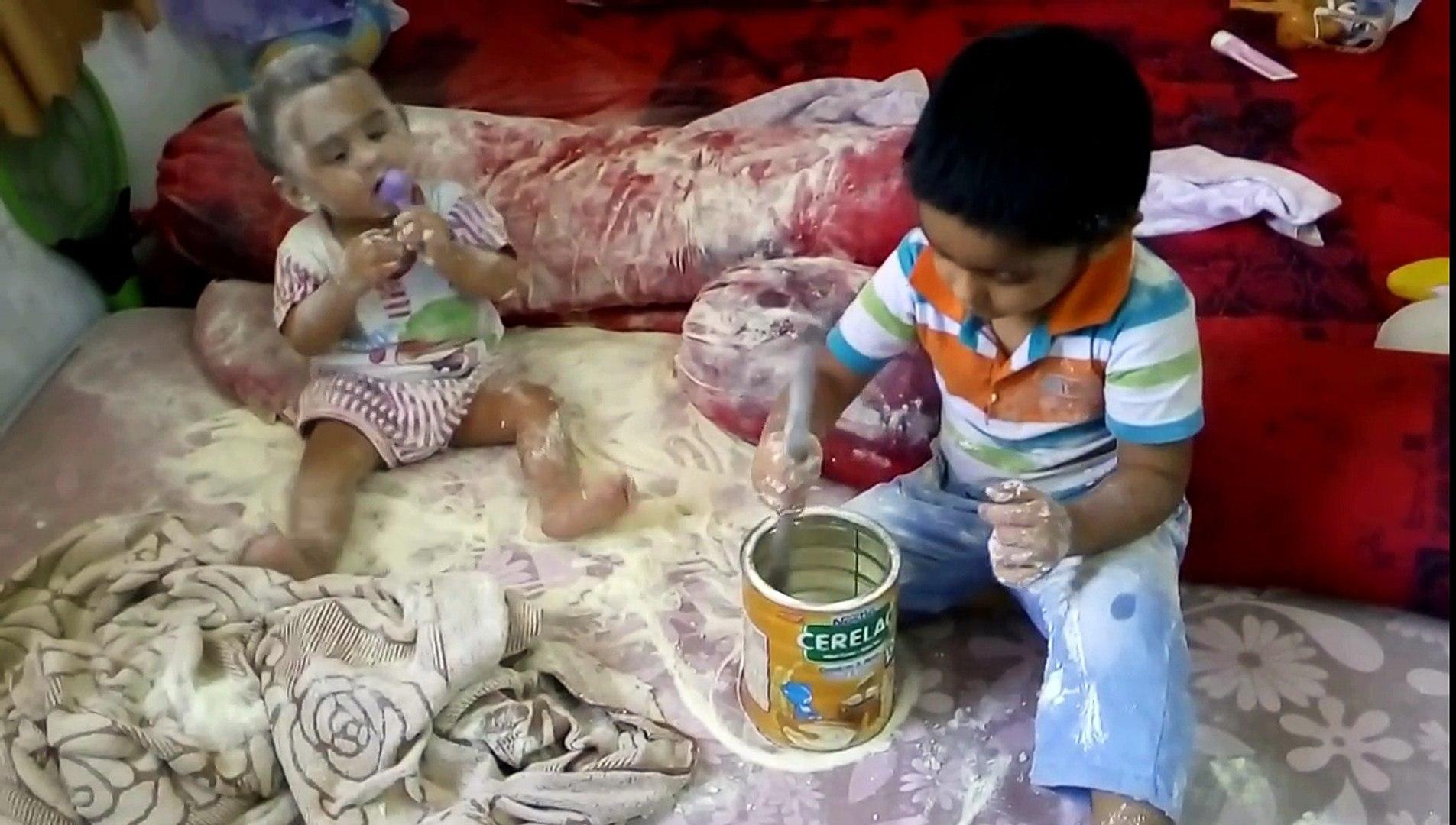 Kids playing milk powder