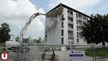 Reims : La tour Berlioz disparaît peu à peu du paysage du quartier Wilson