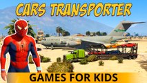 CARS TRANSPORTER dans Spiderman Cartoon Trucks Car for Kids 3D Comptine w action Chansons enfantines
