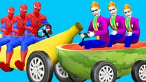 Drôle Joker Spiderman Fruits Driving Compilation Car Party Epic | Fruits d'apprentissage amusant pour les enfants