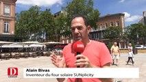 Alain Bivas présente son invention, le four solaire