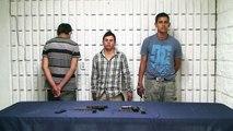Arrestó la policía municipal a tres presuntos homicidas, les aseguran armas y cartuchos útiles