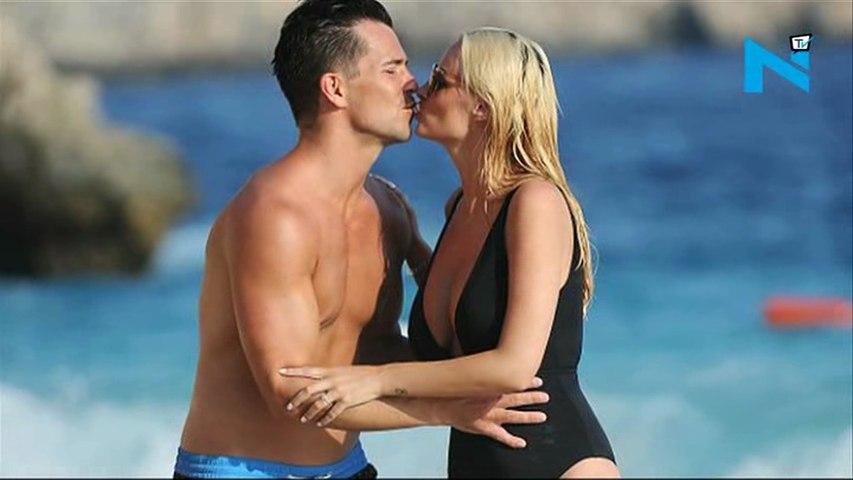 Rhian Sugden's guy apply suntan on her boobs