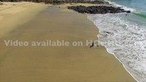 Plage de Audierne et de l'estuaire de la rivière de Goyen vue par drone, Bretagne, Morbihan, France (3)
