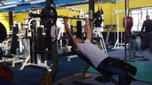 Incline bench pressing-15 year old natural bodybuilder-Natural physique