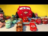 Pixar Cars from Disney Cars and Cars2 Carry Case with Neon Lightning McQueen Mater and Mack