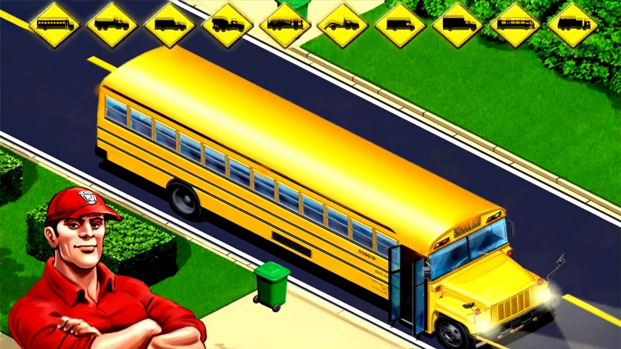 Games trucks, cement trucks, buses, fire trucks, garbage trucks Kids Vehicles City Trucks