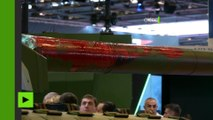 Paris : le char Leclerc cible de jets de peinture par des pacifistes au salon de l'armement