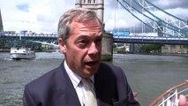 Farage EU Leave flotilla floats up Thames